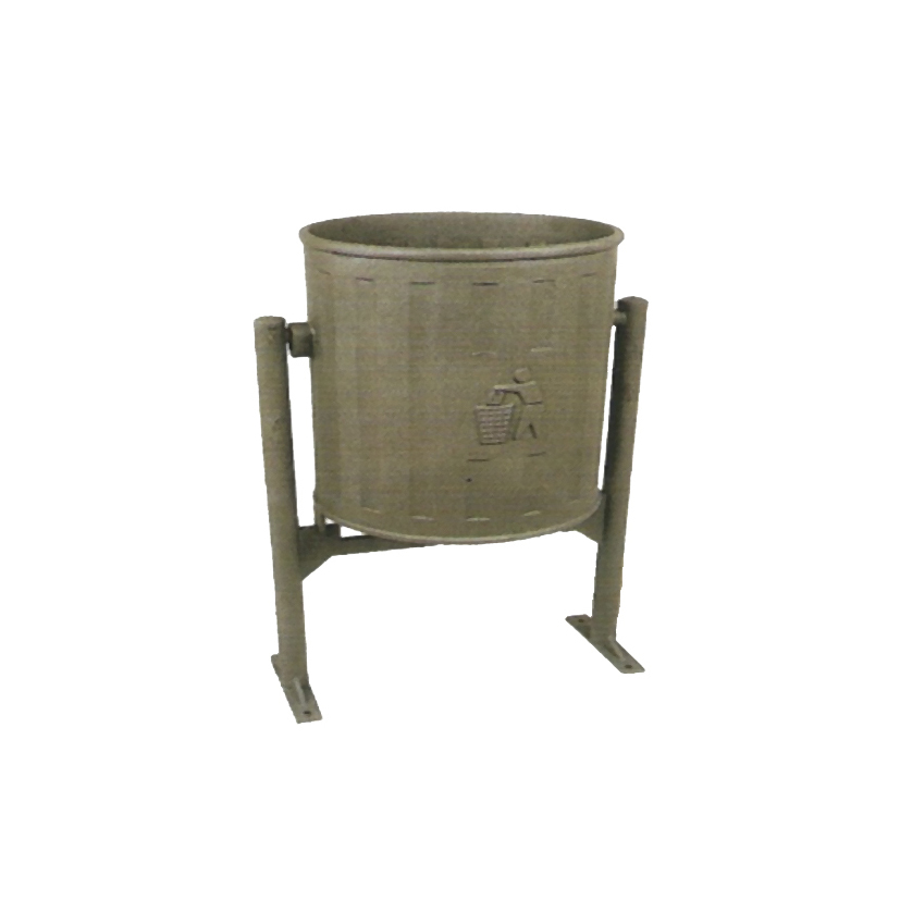 Litter Bin in nodular cast iron.